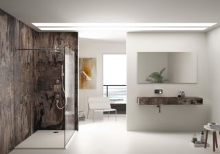 modern bathroom with stone surfaces